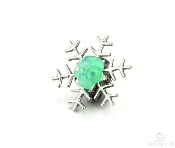 Chrysoprase & 925 Sterling Silver Crystal Skull Collar Button