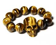 STUNNING FLASH GEMSTONE Gold Tiger Eye Carved Crystal Skull Bracelet