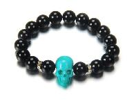 Black Obsidian Beads Stretch Bracelet with Stunning Hand-Carved Turquoise Skull