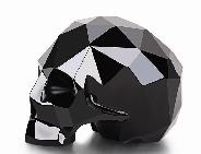 "Amazing 3.9"" Black Obsidian Carved Faceted Crystal Skull Sculpture"