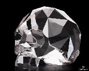 "Amazing Clear 3.8"" Quartz Rock Crystal Carved Faceted Crystal Skull Sculpture"