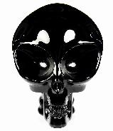"Huge 5.2"" Black Obsidian Carved Crystal Alien Skull"