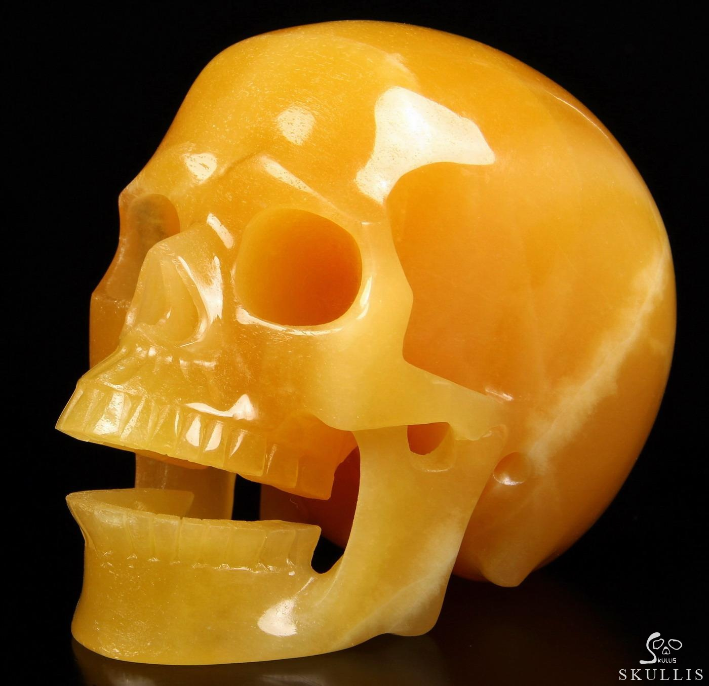 Beeswax Jade Crystal Singing Skull
