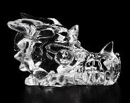 "Clear 2.0"" Quartz Rock Crystal Carved Crystal Dragon Skull"