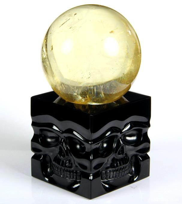 Black Obsidian Crystal Skulls Sphere Stand Sculpture