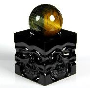 New Design Black Obsidian Carved Crystal Skulls Sphere Stand Sculpture
