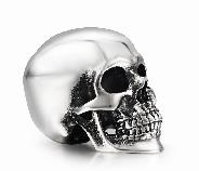 "1.1"" Oxidized Sterling Silver Carved Crystal Skull, Super Realistic"