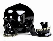 "Lifesized 7.4"" Black Obsidian Carved Crystal Skull with Pyrite Teeth, Detachable"