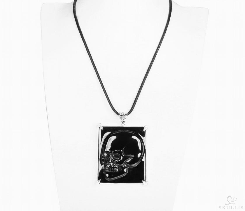 Black Obsidian Crystal Skull Pendant/Necklace