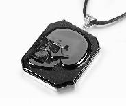 Black Obsidian Carved Crystal Skull Pendant/Necklace with Sterling Silver
