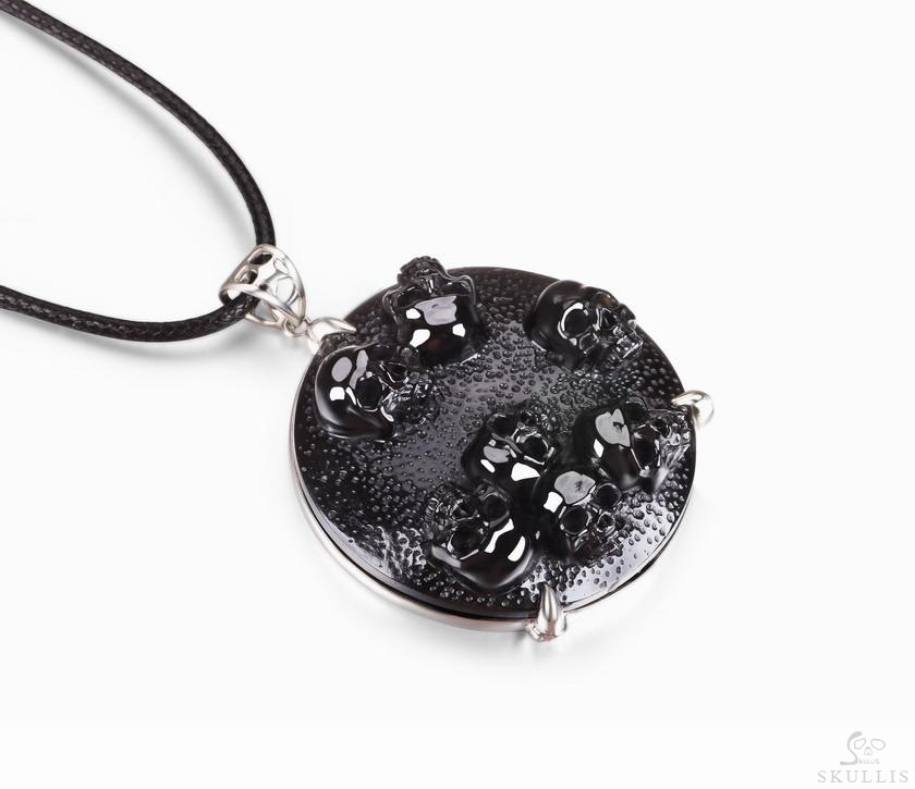 Black Obsidian Crystal Skulls Pendant/Necklace