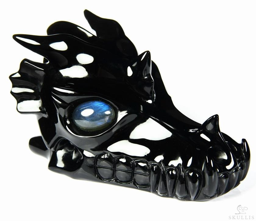 Black Obsidian Crystal Dragon Skull