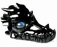 "Huge 5.0"" Black Obsidian Carved Crystal Dragon Skull with Labradorite Eyes"