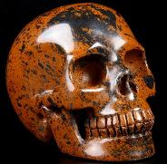 "Huge 4.0"" Mahogany Obsidian Carved Crystal Skull, Realistic"