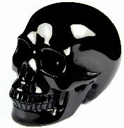 "Huge 4.1"" Black Obsidian Carved Crystal Skull, Realistic"