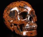 "Huge 5.0"" Mahogany Obsidian Carved Crystal Skull, Realistic"