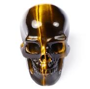 "Flash 1.5"" Tiger Eye Carved Crystal Skull, Realistic, Crystal Healing"