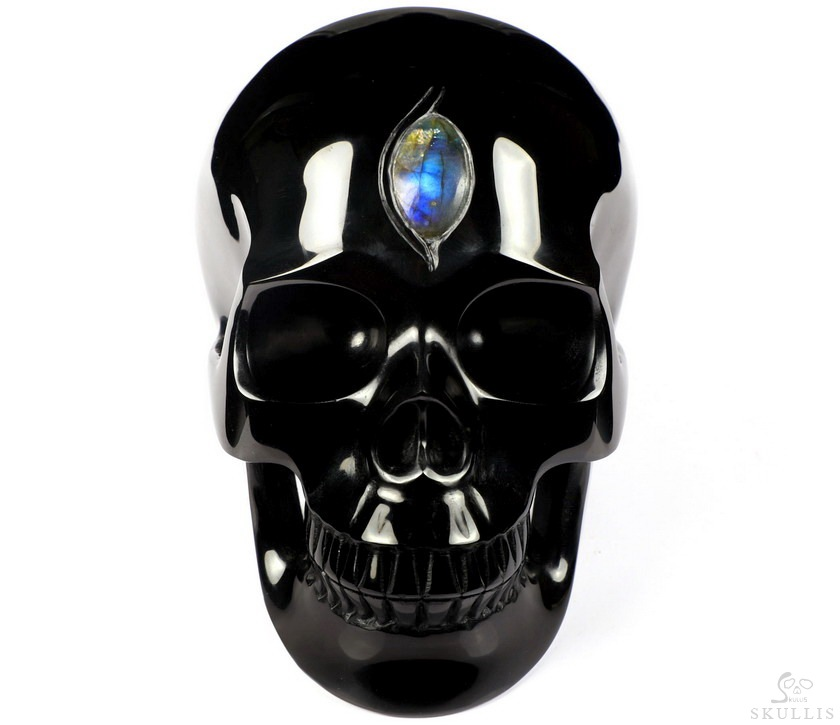 Black Obsidian Crystal Skull With Labradorite Eye of Heaven