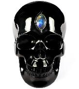"Nice Design 5.1"" Black Obsidian Carved Crystal Skull With Labradorite Eye of Heaven, Realistic, Healing"