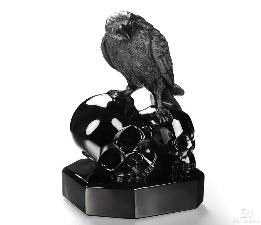Black Obsidian Crystal Skulls With Raven Standing Suclpture