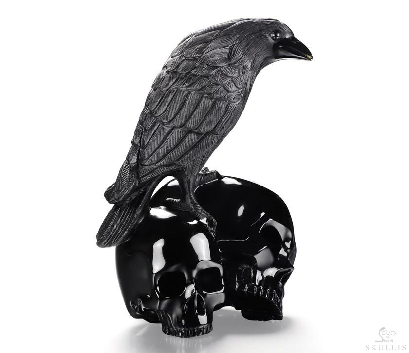 Black Obsidian Crystal Double Skulls With Raven Standing Scupture