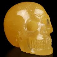 "2.0"" Yellow Ice Jade Carved Crystal Skull, Realistic, Crystal Healing"