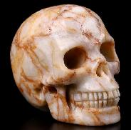 "2.0"" Red Network Jasper Carved Crystal Skull, Realistic, Crystal Healing"
