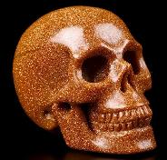 "2.0"" Synthetic Gold Sand Stone Carved Crystal Skull, Realistic, Crystal Healing"