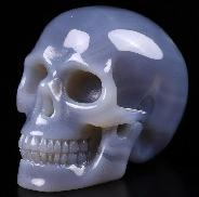 "2.0"" Gray & White Agate Carved Crystal Skull, Realistic, Crystal Healing"