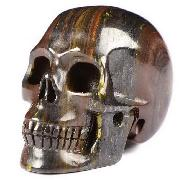 "2.0"" Colorful Tiger Iron Eye Carved Crystal Skull, Realistic, Crystal Healing"
