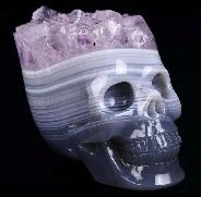 "2.1"" Amethyst & Agate Druse Carved Crystal Skull, Realistic, Crystal Healing"