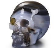 "Nice 2.0"" Gray & White Agate Carved Crystal Skull, Realistic, Crystal Healing"