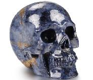 "Gemstone 2.0"" Sapphire Corundum Carved Crystal Skull, Realistic, Crystal Healing"