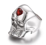 Third Eye - Garnet in Rhodium Plated Sterling Silver Skull Ring