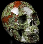 "Huge 5.0"" Dragon Blood Jasper Carved Crystal Skull, Realistic, Crystal Healing"