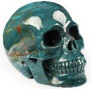 "Huge 5.0"" Bloodstone Carved Crystal Skull, Realistic, Crystal Healing"