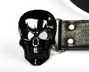 "2.8"" Black Obsidian Carved Crystal Skull Buckle Belt With stainless steel, Crystal Healing"