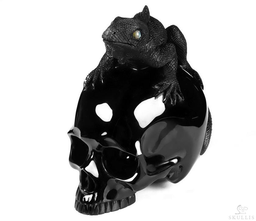 Black Obsidian Crystal Skull With lizard Sculpture, Labradorite Eyes
