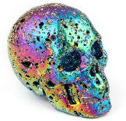 "2.0"" Aura titanium hot lava Carved Crystal Skull, Realistic, Crystal Healing"
