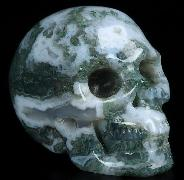"2.0"" Green Moss Agate Carved Crystal Skull, Realistic, Crystal Healing"