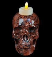"5.0"" Mahogany Obsidian Carved Candlestick Crystal Skull, Crystal Healing"