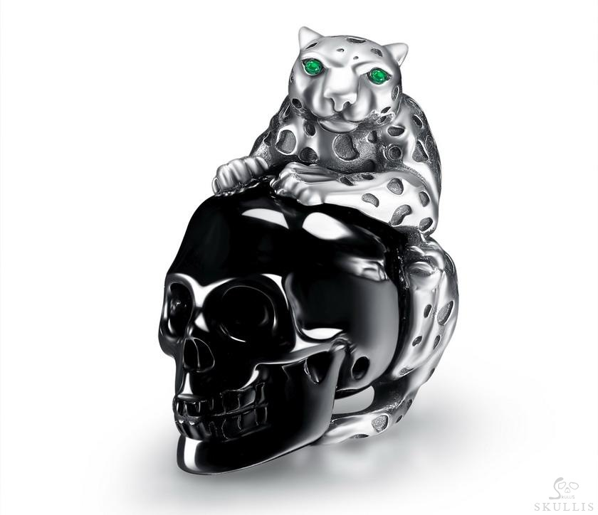 Black Obsidian & 925 Sterling Silver leopard Crystal Skull Pendant with Silver Chain