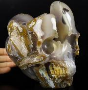 "Lifesized 6.2"" Agate Geode Carved Crystal Skull, Crystal Healing"
