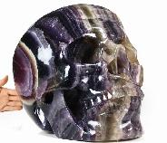 "Titan 15.6""/110.6LB Fluorite Carved Crystal Skull, Super Realistic"