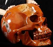 "Titan 15.7"" Red Jasper Carved Crystal Skull, Super Realistic"