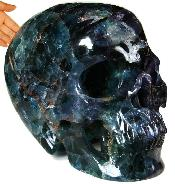 "STUNNING TITAN 14.1"" Fluorite Carved Crystal Skull, Super Realistic"