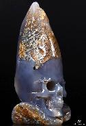 "GEODE HUGE 4.5"" Agate Carved Crystal Skull"
