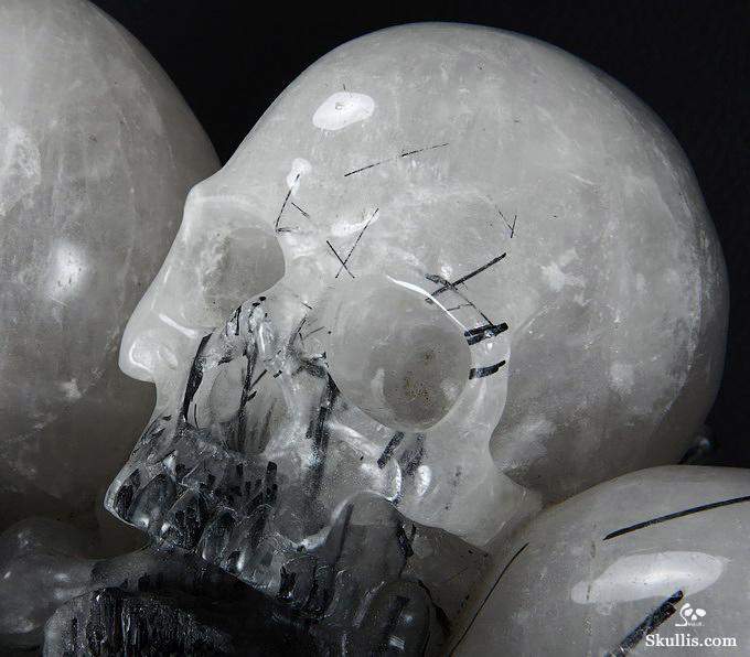 Tourmaline and Quartz Crystal Skulls Sculpture