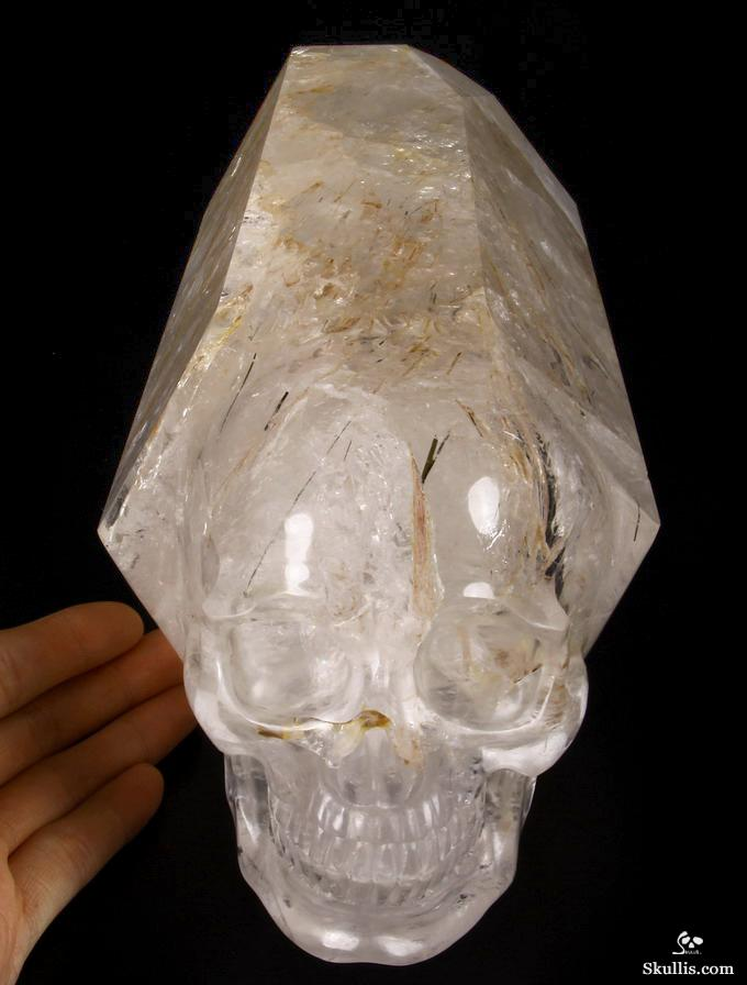 Phantom Quartz Rock Crystal with Tourmaline and Rutile Crystal Skull Wand Sculpture