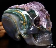 "Stunning Amethyst Geode HUGE 6.3"" Agate Carved Mitchell-Hedges Crystal Skull Replica, Skull of Doom"